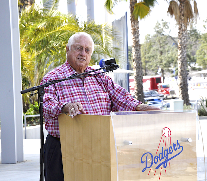 Tommy Lasorda at opening of his new restaruant, Lasorda's Trattoria, in 2014 at Dodger Stadium.