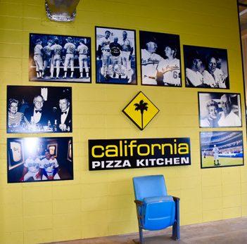 California Pizza Kitchen wall display at Dodger Stadium.