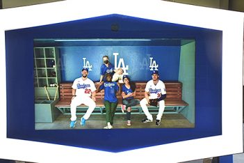 Los Angeles Dodgers new virtual dugout photo area.