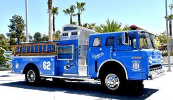 Los Angeles Dodgers vintage Fire Truck at Dodger Stadium.