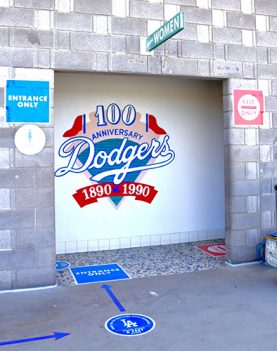 Women's Restroom at Dodger Stadium with clear markings for social distancing.