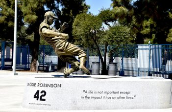 Jackie Robinson staute at the entrance of Centerfield gate at Dodger Stadium.