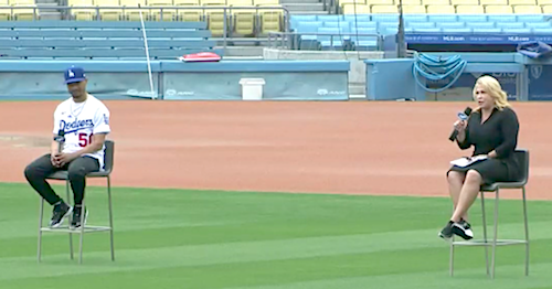 Mookie Betts and Naomi Rodriguez at Dodger Stadium