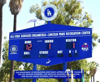 Dodgers Dreamfield Scoreboard