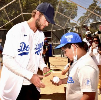 Dodgers pitcher Clayton Kershaw and Dodgers RBI player Seth Delatorre