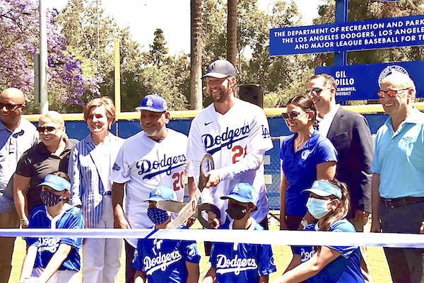 Clayton Kershaw at Ribbon Cutting at the Los Angeles Dodgers Foundation's unveiling of two new Dreamfields at Lincoln Park Recreation Center in L.A. on June 12, 2021.