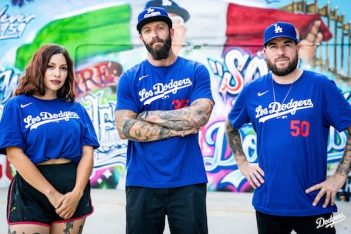 Dodger Stadium street mural artists Michelle Ruby Guerrero, Jonas Swyer and Fernando Zamora