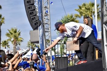 Justin Turner at the 2020 Fanfest in Los Angeles, CA at Dodger Stadium.